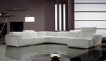 Tempo White Top Grain Italian Leather Living Room Sectional Sofa With Adjustable Headrests